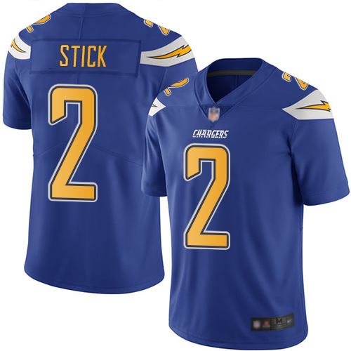Chargers #2 Easton Stick Electric Blue Men's Stitched Football Limited Rush Jersey