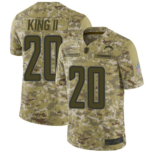 Chargers #20 Desmond King II Camo Men's Stitched Football Limited 2018 Salute To Service Jersey
