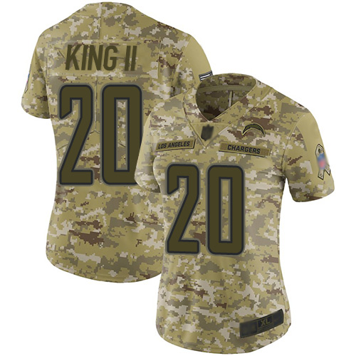 Chargers #20 Desmond King II Camo Women's Stitched Football Limited 2018 Salute to Service Jersey