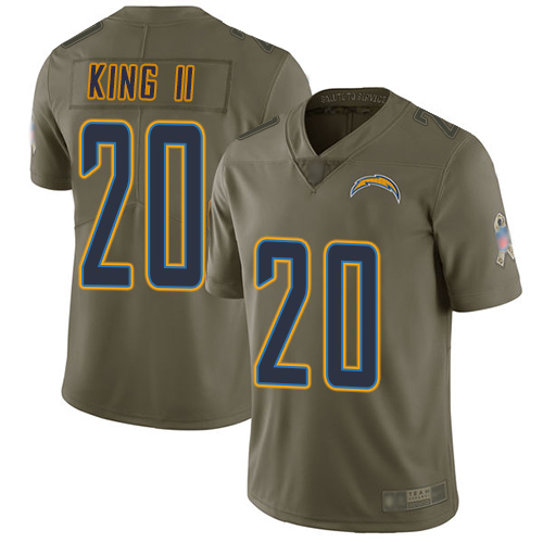 Chargers #20 Desmond King II Olive Men's Stitched Football Limited 2017 Salute To Service Jersey
