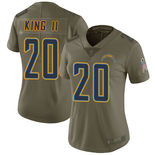 Chargers #20 Desmond King II Olive Women's Stitched Football Limited 2017 Salute to Service Jersey