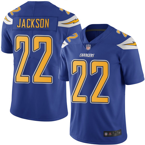 Chargers #22 Justin Jackson Electric Blue Men's Stitched Football Limited Rush Jersey