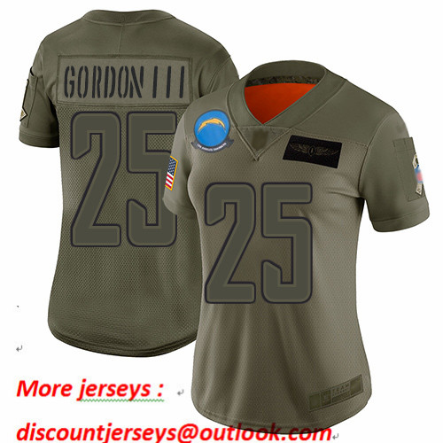Chargers #25 Melvin Gordon III Camo Women's Stitched Football Limited 2019 Salute to Service Jersey