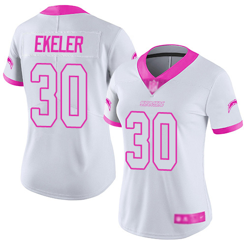 Chargers #30 Austin Ekeler White Pink Women's Stitched Football Limited Rush Fashion Jersey
