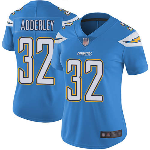 Chargers #32 Nasir Adderley Electric Blue Alternate Women's Stitched Football Vapor Untouchable Limited Jersey
