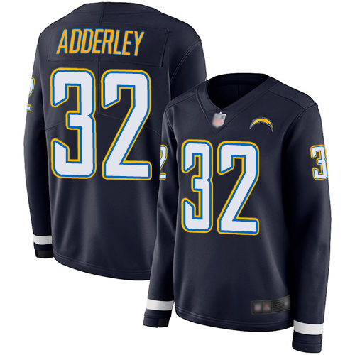 Chargers #32 Nasir Adderley Navy Blue Team Color Women's Stitched Football Limited Therma Long Sleeve Jersey