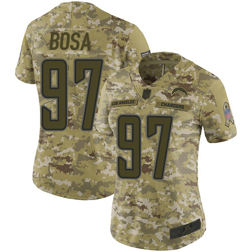 Chargers #97 Joey Bosa Camo Women's Stitched Football Limited 2018 Salute to Service Jersey