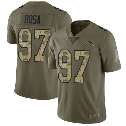 Chargers #97 Joey Bosa Olive Camo Men's Stitched Football Limited 2017 Salute To Service Jersey
