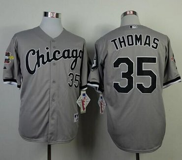wholesale dealer b8e8c b7e52 Chicago White Sox #35 Frank Thomas Grey Cool Base Stitched ...