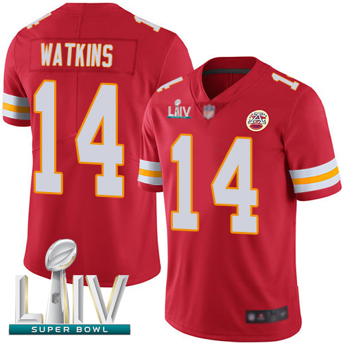 Chiefs #14 Sammy Watkins Red Team Color Super Bowl LIV Bound Men's Stitched Football Vapor Untouchable Limited Jersey