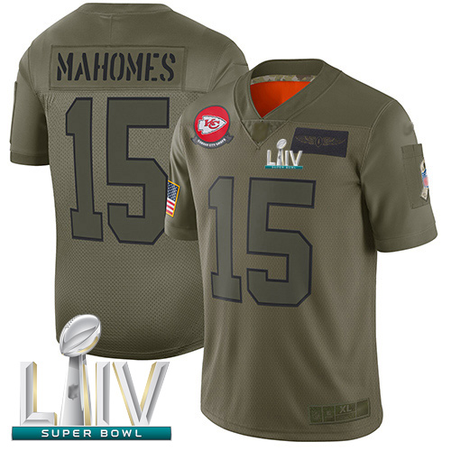Chiefs #15 Patrick Mahomes Camo Super Bowl LIV Bound Men's Stitched Football Limited 2019 Salute To Service Jersey