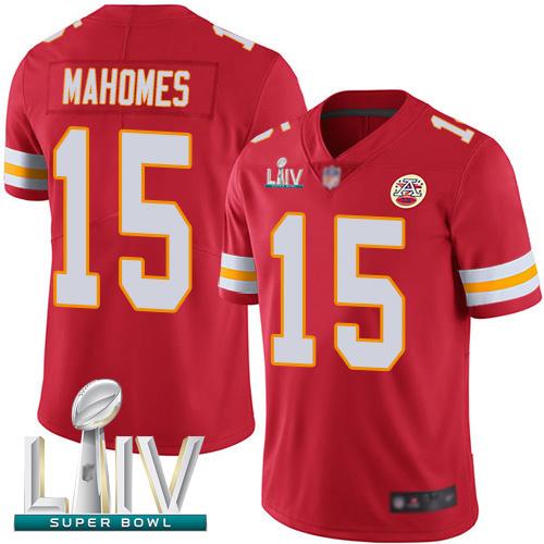 Chiefs #15 Patrick Mahomes Red Team Color Super Bowl LIV Bound Men's Stitched Football Vapor Untouchable Limited Jersey