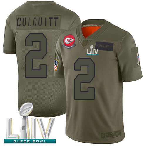 Chiefs #2 Dustin Colquitt Camo Super Bowl LIV Bound Men's Stitched Football Limited 2019 Salute To Service Jersey