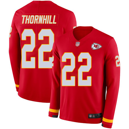 Chiefs #22 Juan Thornhill Red Team Color Men's Stitched Football Limited Therma Long Sleeve Jersey