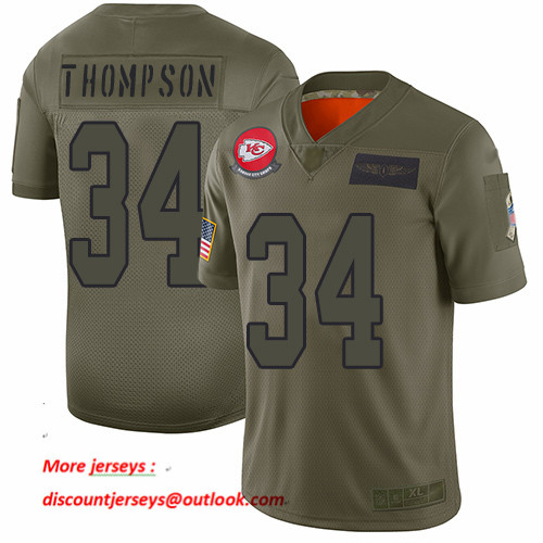 Chiefs #34 Darwin Thompson Camo Men's Stitched Football Limited 2019 Salute To Service Jersey