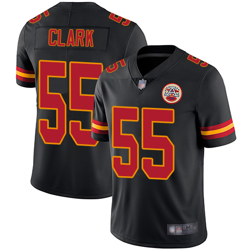 Chiefs #55 Frank Clark Black Men's Stitched Football Limited Rush Jersey