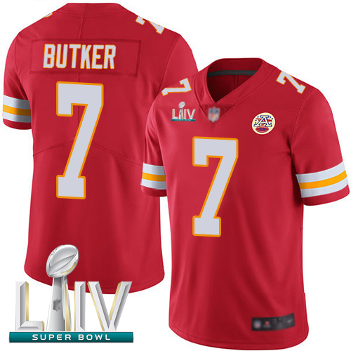 Chiefs #7 Harrison Butker Red Team Color Super Bowl LIV Bound Men's Stitched Football Vapor Untouchable Limited Jersey