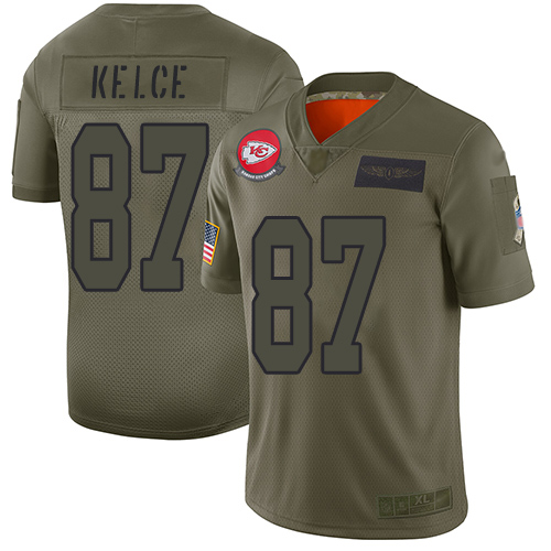 Chiefs #87 Travis Kelce Camo Men's Stitched Football Limited 2019 Salute To Service Jersey