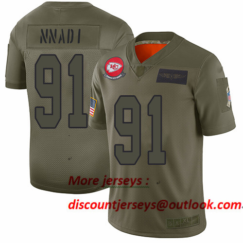 Chiefs #91 Derrick Nnadi Camo Men's Stitched Football Limited 2019 Salute To Service Jersey