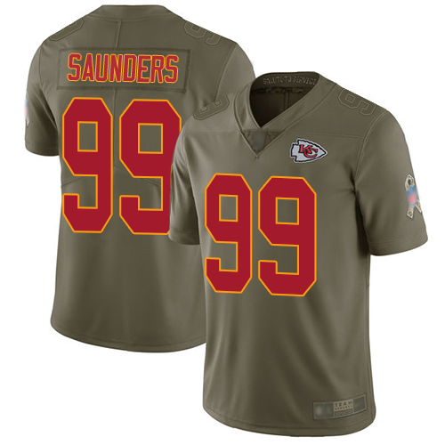 Chiefs #99 Khalen Saunders Olive Men's Stitched Football Limited 2017 Salute To Service Jersey