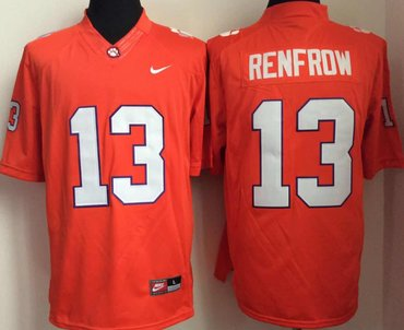 Clemson Tigers 13 Hunter Renfrow Orange College Football Jersey