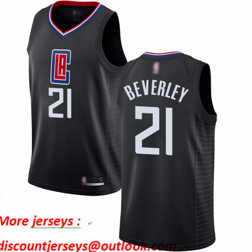 Clippers #21 Patrick Beverley Black Basketball Swingman Statement Edition Jersey