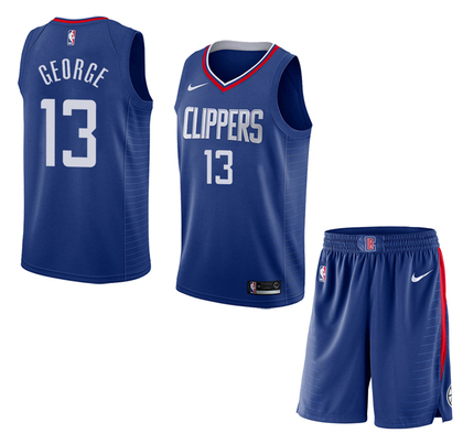 Clippers 13 Paul George Blue City Edition Nike Swingman Jersey(With Shorts)