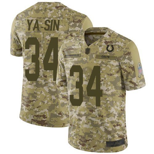 Colts #34 Rock Ya-Sin Camo Men's Stitched Football Limited 2018 Salute To Service Jersey