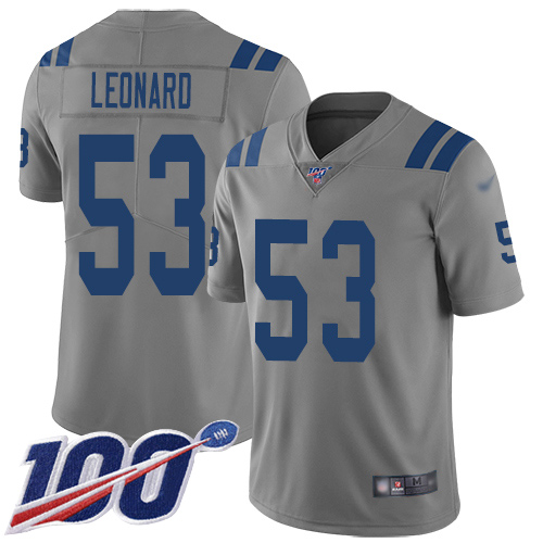 Colts #53 Darius Leonard Gray Men's Stitched Football Limited Inverted Legend 100th Season Jersey