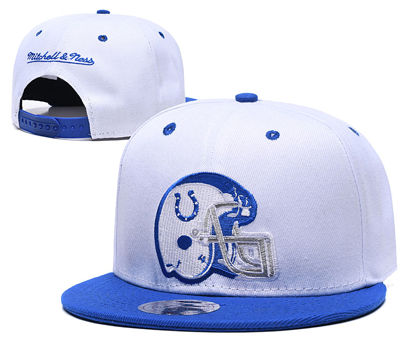 Colts Team Logo White Blue Mitchell & Ness Adjustable Hat GS