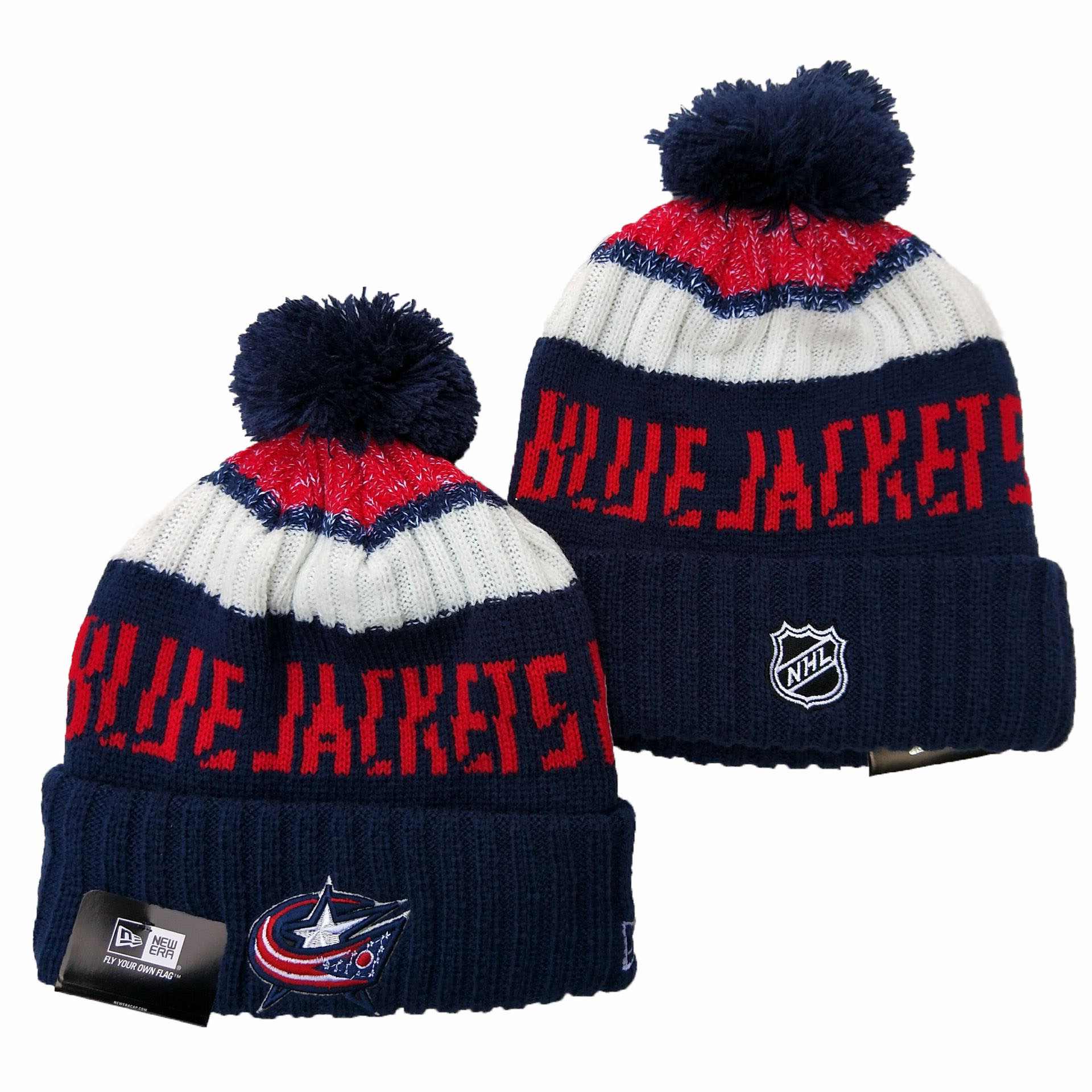 Columbus Blue Jackets Team Logo Black Pom Knit Hat YD