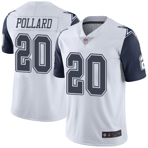 Cowboys #20 Tony Pollard White Men's Stitched Football Limited Rush Jersey