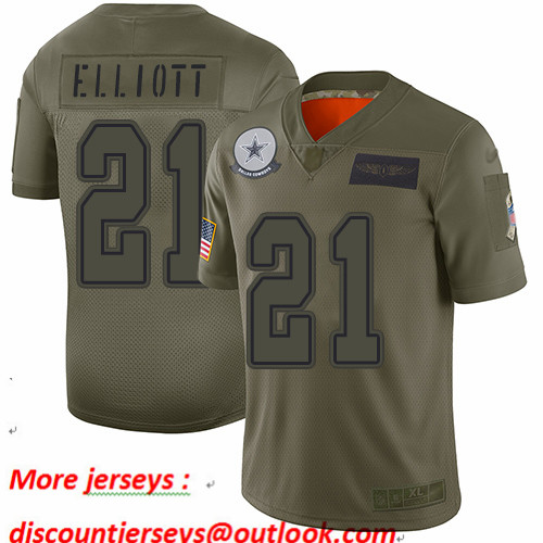 Cowboys #21 Ezekiel Elliott Camo Youth Stitched Football Limited 2019 Salute to Service Jersey