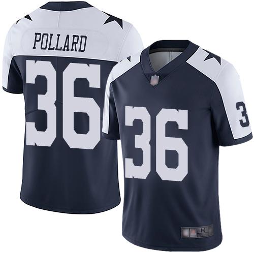 Cowboys #36 Tony Pollard Navy Blue Thanksgiving Men's Stitched Football Vapor Untouchable Limited Throwback Jersey