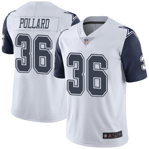 Cowboys #36 Tony Pollard White Men's Stitched Football Limited Rush Jersey
