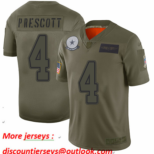 Cowboys #4 Dak Prescott Camo Youth Stitched Football Limited 2019 Salute to Service Jersey