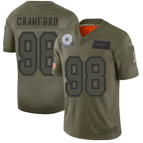 Cowboys #98 Tyrone Crawford Camo Men's Stitched Football Limited 2019 Salute To Service Jersey