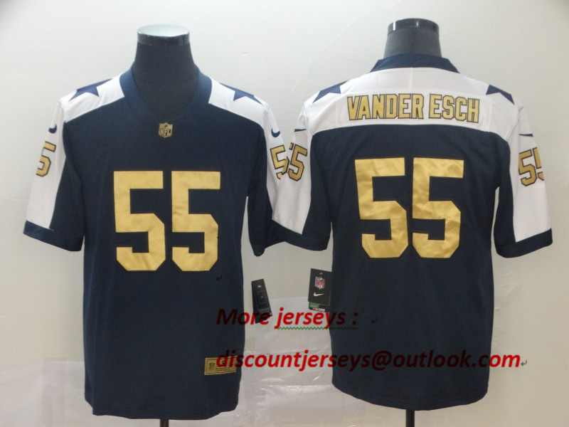 Cowboys 55 Leighton Vander Esch Navy Gold Throwback Vapor Untouchable Limited Jersey