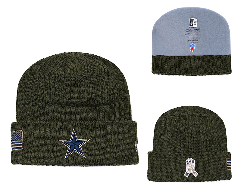 Cowboys Olive Salute To Service Cuffed Knit Hat YD