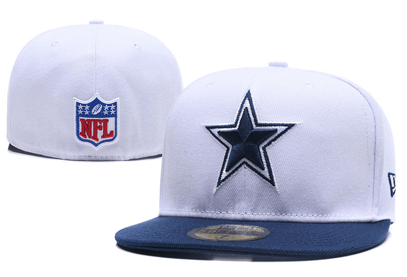 Cowboys Team Logo White Fitted Hat LX