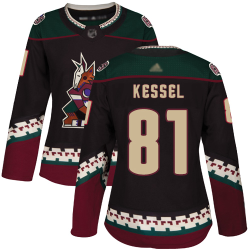 Coyotes #81 Phil Kessel Black Alternate Authentic Women's Stitched Hockey Jersey