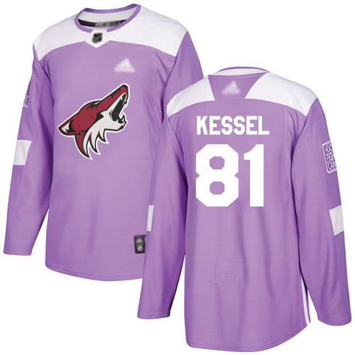 Coyotes #81 Phil Kessel Purple Authentic Fights Cancer Stitched Hockey Jersey