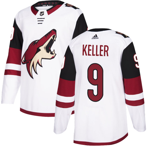 Coyotes #9 Clayton Keller White Road Authentic Stitched Hockey Jersey