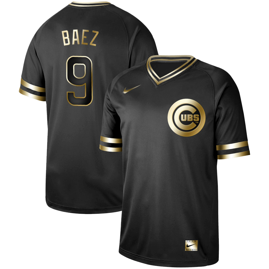 Cubs 9 Javier Baez Black Gold Nike Cooperstown Collection Legend V Neck Jersey