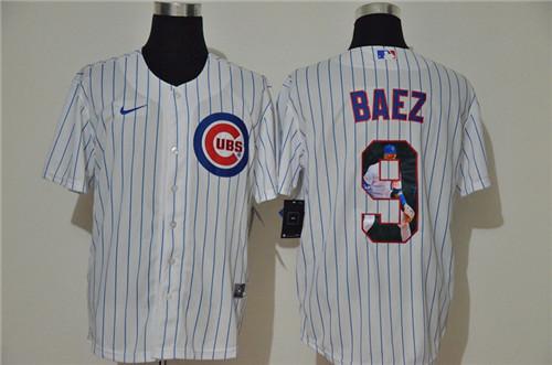 Cubs 9 Javier Baez White Nike Cool Base Player Jersey