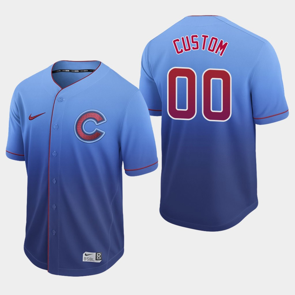 Cubs Custom Authentic Royal Fade Jersey