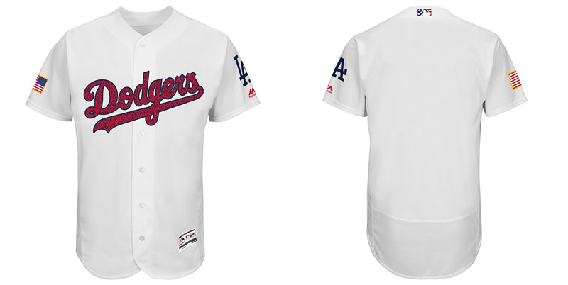 Custom Angeles Dodgers White Fashion Stars & Stripes Flexbase Authentic Stitched MLB Jersey