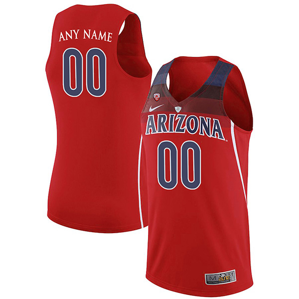 Custom Arizona Wildcats Men's Jersey Authentic Red Stitched NCAA College Basketball