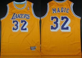 Custom Lakers #32 Magic Yellow Jersey