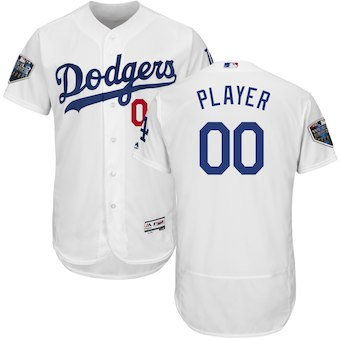 Custom Men's Los Angeles Dodgers White 2018 World Series Flex Base Jersey